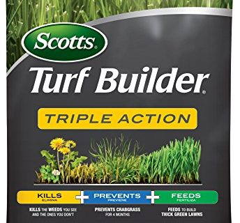 Scotts Turf Builder Triple Action, 50 lb. – Covers up to 10,000 sq. ft. – Kills Weeds like Dandelions and Clover, Prevents Crabgrass for 4 Months, Feeds and Fertilizes to Build Thick Green Lawns