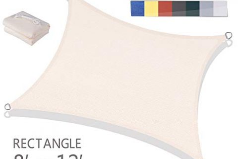 Love Story 8′ x 12′ Rectangle Beige UV Block Sun Shade Sail Perfect for Outdoor Patio Garden