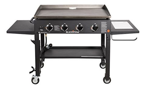 Blackstone 36 inch Outdoor Flat Top Gas Grill Griddle Station – Professional Quality – 4-burner – Restaurant Grade – With NEW Accessory Side Shelf and Rear Grease Management System – Propane Fueled