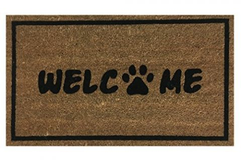 Paw Print Welcome Coir Doormat by Castle Mats, Size 18 x 30 inches, Non-Slip, Durable, Made Using Odor-Free Natural Fibers