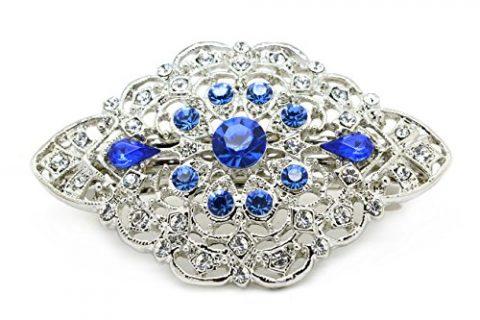 Bridal Hair Barrette Vintage Ornate Something Blue Rhinestone Crystal Small 2.5 inches